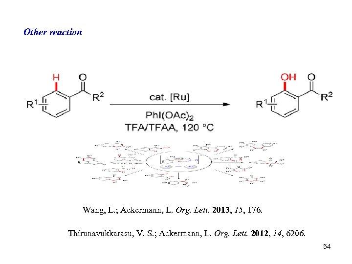 Other reaction Wang, L. ; Ackermann, L. Org. Lett. 2013, 15, 176. Thirunavukkarasu, V.
