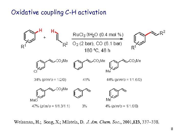 Oxidative coupling C-H activation Weissman, H. ; Song, X. ; Milstein, D. J. Am.