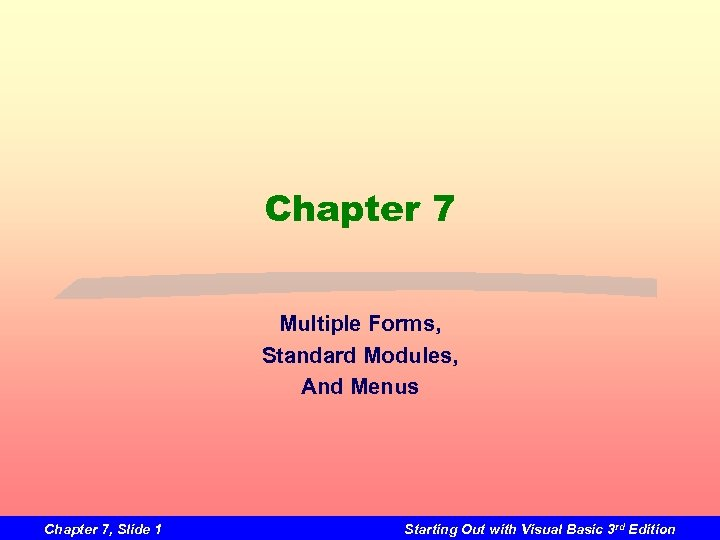 Chapter 7 Multiple Forms, Standard Modules, And Menus Chapter 7, Slide 1 Starting Out