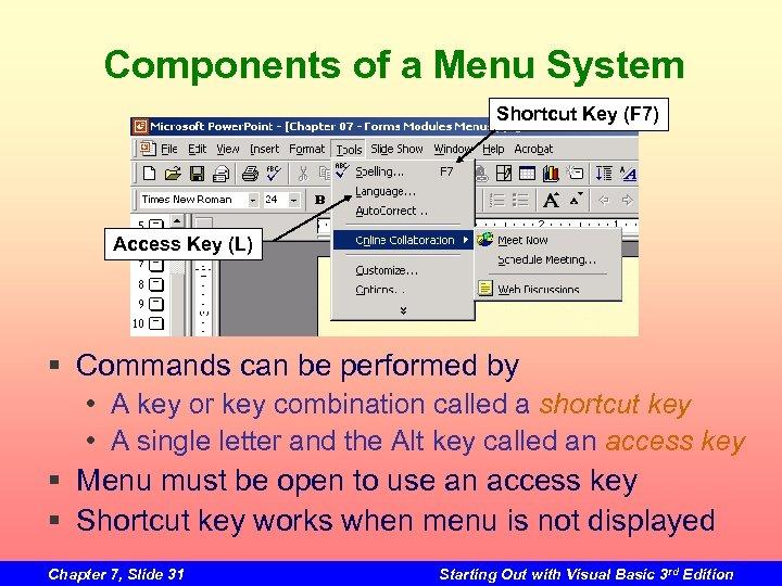 Components of a Menu System Shortcut Key (F 7) Access Key (L) § Commands
