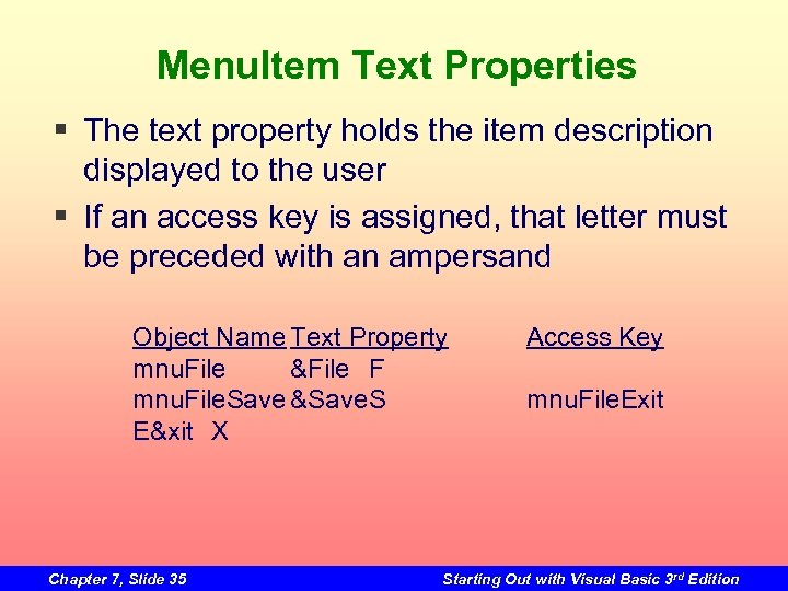 Menu. Item Text Properties § The text property holds the item description displayed to