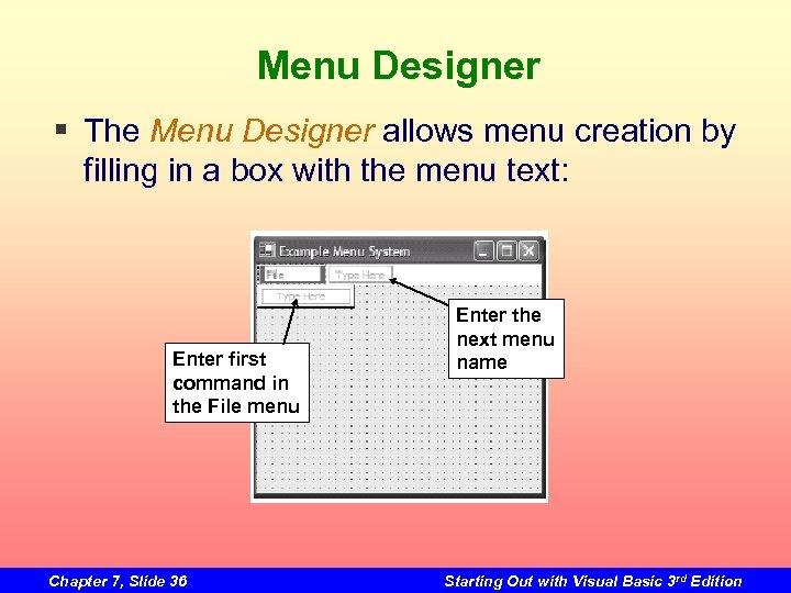 Menu Designer § The Menu Designer allows menu creation by filling in a box