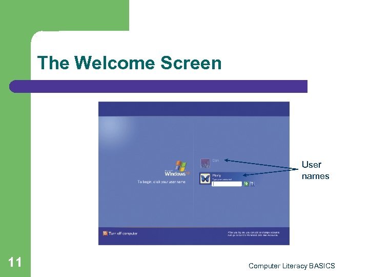 The Welcome Screen User names 11 Computer Literacy BASICS