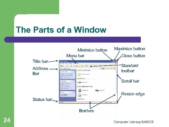 The Parts of a Window Minimize button Menu bar Title bar Maximize button Close