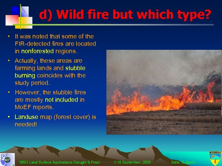 d) Wild fire but which type? • It was noted that some of the