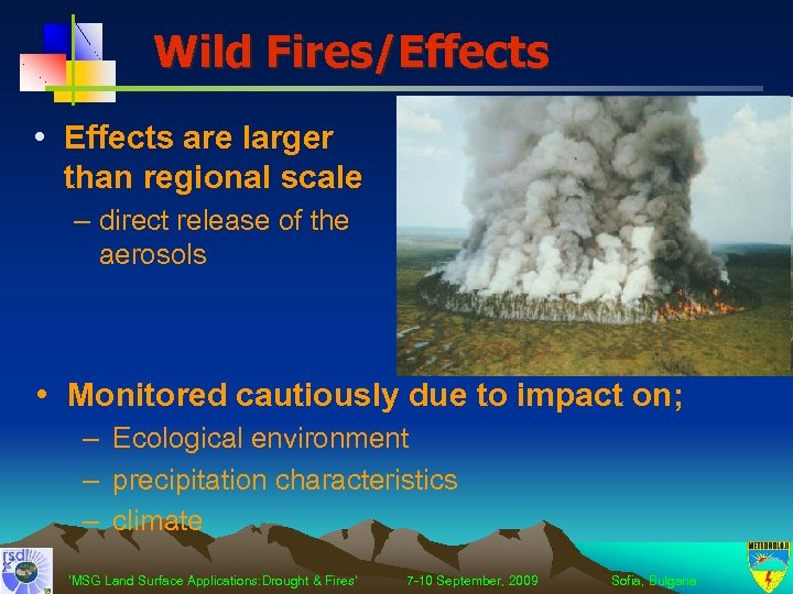 Wild Fires/Effects • Effects are larger than regional scale – direct release of the