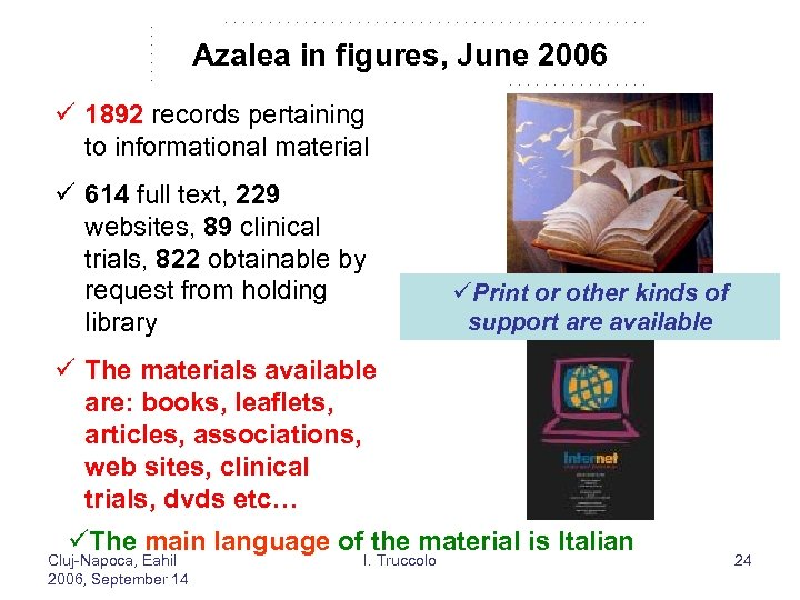 Azalea in figures, June 2006 ü 1892 records pertaining to informational material ü 614