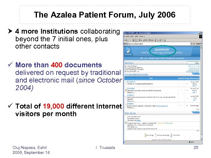 The Azalea Patient Forum, July 2006 4 more Institutions collaborating beyond the 7 initial