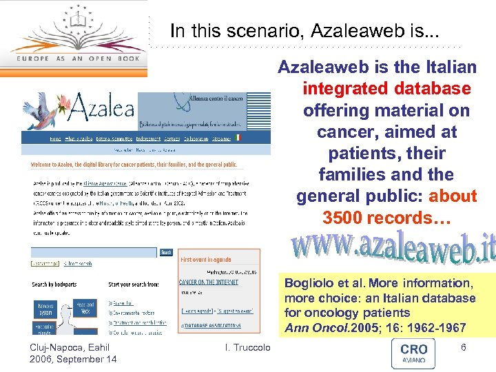 In this scenario, Azaleaweb is. . . Azaleaweb is the Italian integrated database offering
