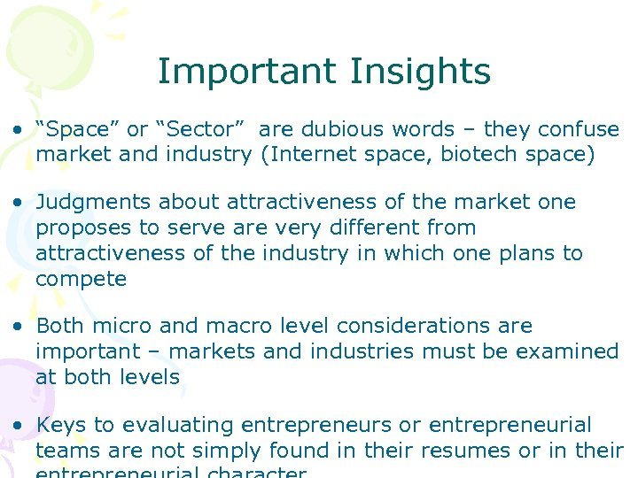 "Important Insights • ""Space"" or ""Sector"" are dubious words – they confuse market and"