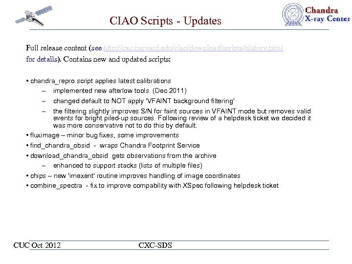 CIAO Scripts - Updates Full release content (see http: //cxc. harvard. edu/ciao/download/scripts/history. html for