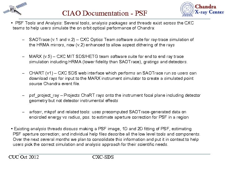 CIAO Documentation - PSF • PSF Tools and Analysis: Several tools, analysis packages and