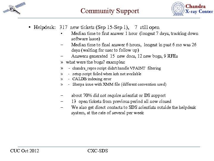 Community Support • Helpdesk: 317 new tickets (Sep 15 -Sep 1), 7 still open