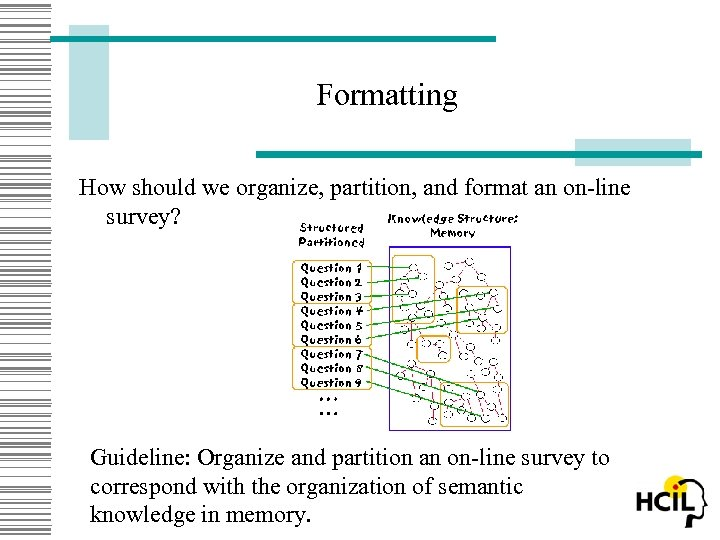 Formatting How should we organize, partition, and format an on-line survey? Guideline: Organize and