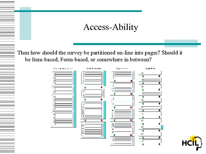 Access-Ability Then how should the survey be partitioned on-line into pages? Should it be
