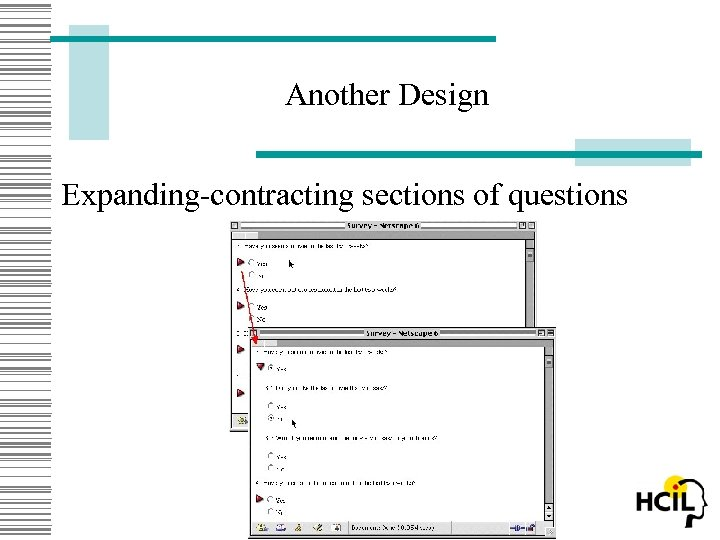 Another Design Expanding-contracting sections of questions