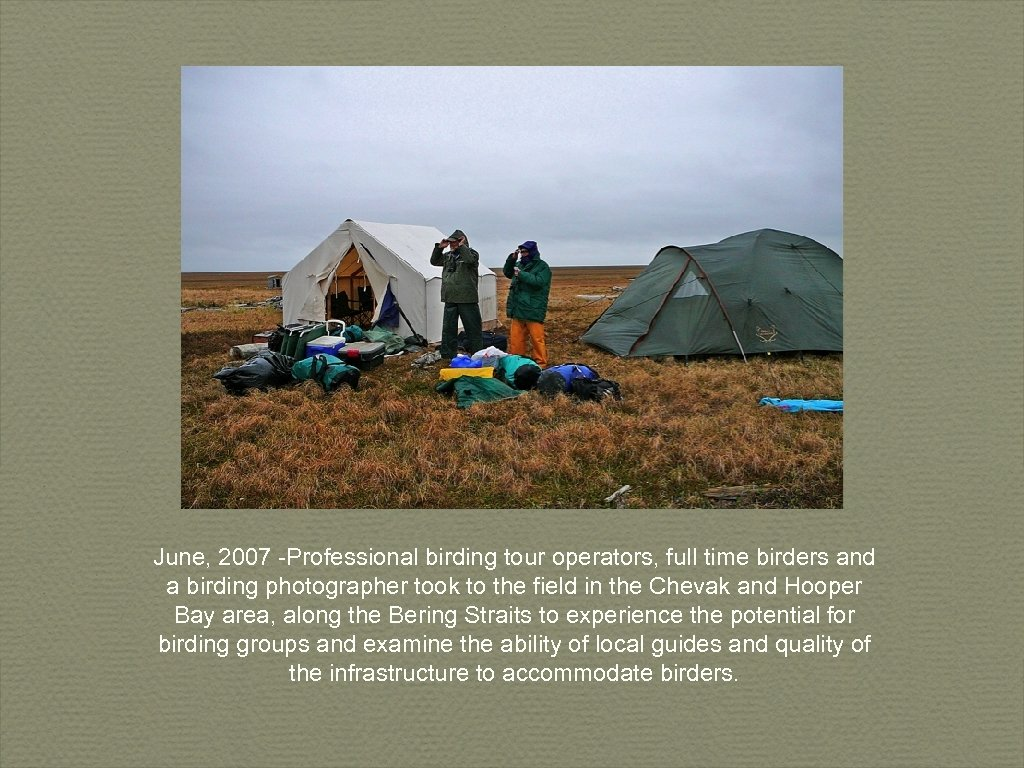 June, 2007 -Professional birding tour operators, full time birders and a birding photographer took
