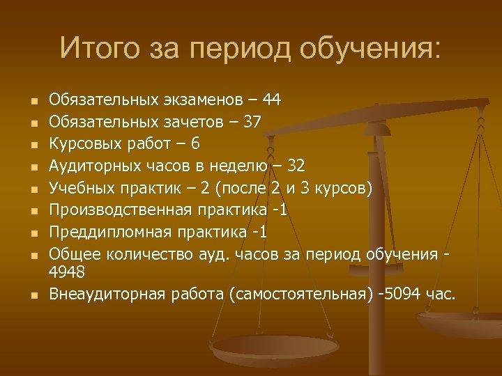 Итого за период обучения: n n n n n Обязательных экзаменов – 44 Обязательных