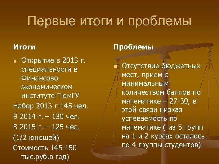 Первые итоги и проблемы Итоги Открытие в 2013 г. специальности в Финансовоэкономическом институте Тюм.