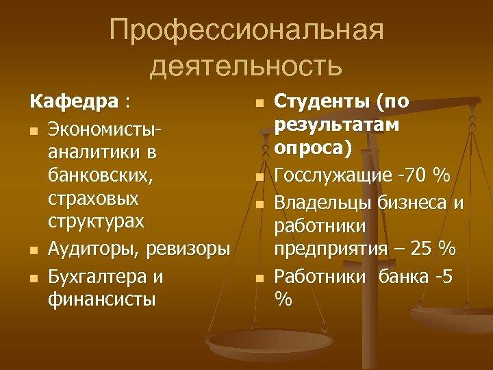Профессиональная деятельность Кафедра : n Экономистыаналитики в банковских, страховых структурах n Аудиторы, ревизоры n