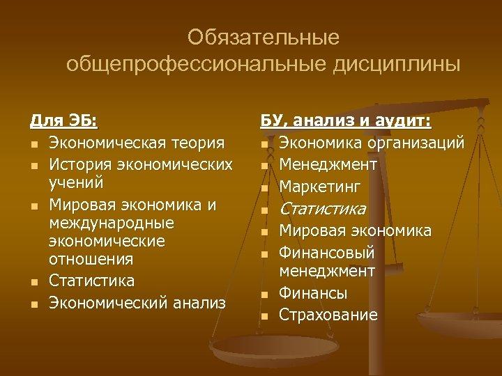 Обязательные общепрофессиональные дисциплины Для ЭБ: n Экономическая теория n История экономических учений n Мировая