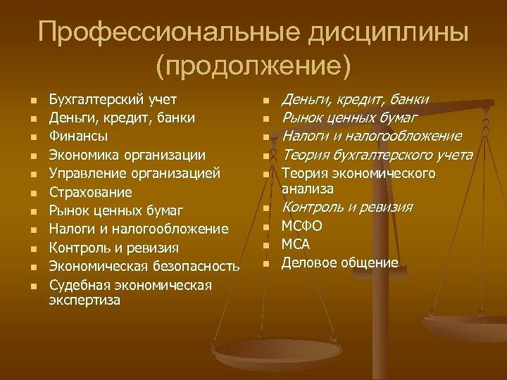 Профессиональные дисциплины (продолжение) n n n Бухгалтерский учет Деньги, кредит, банки Финансы Экономика организации