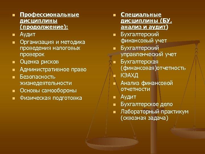 n n n n Профессиональные дисциплины (продолжение): Аудит Организация и методика проведения налоговых проверок