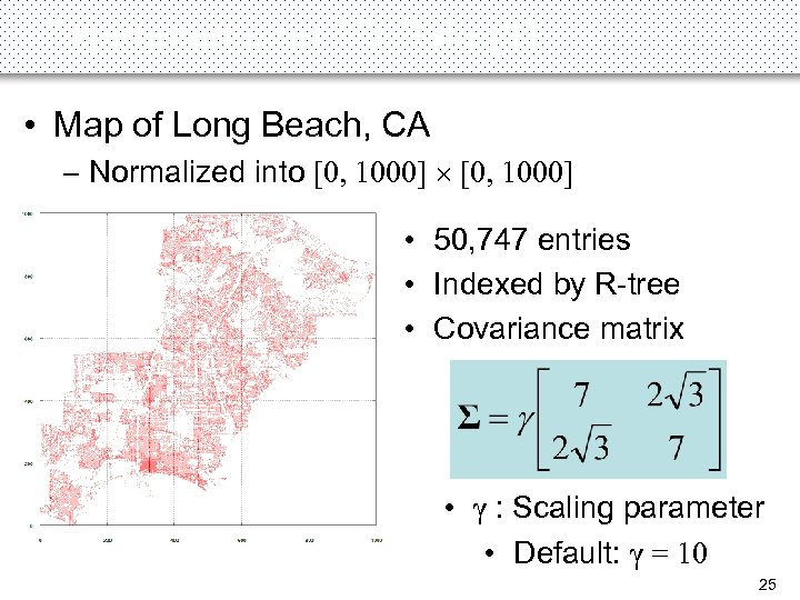 Experiments on 2 D Data (1) • Map of Long Beach, CA – Normalized