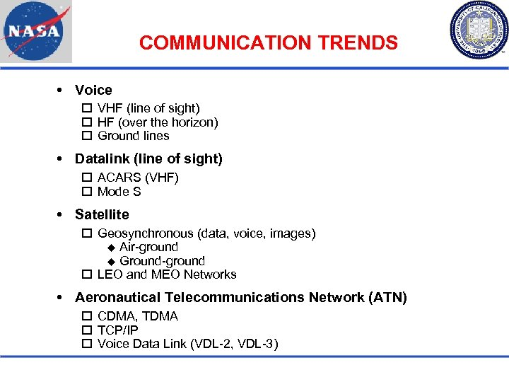 COMMUNICATION TRENDS Voice VHF (line of sight) HF (over the horizon) Ground lines Datalink