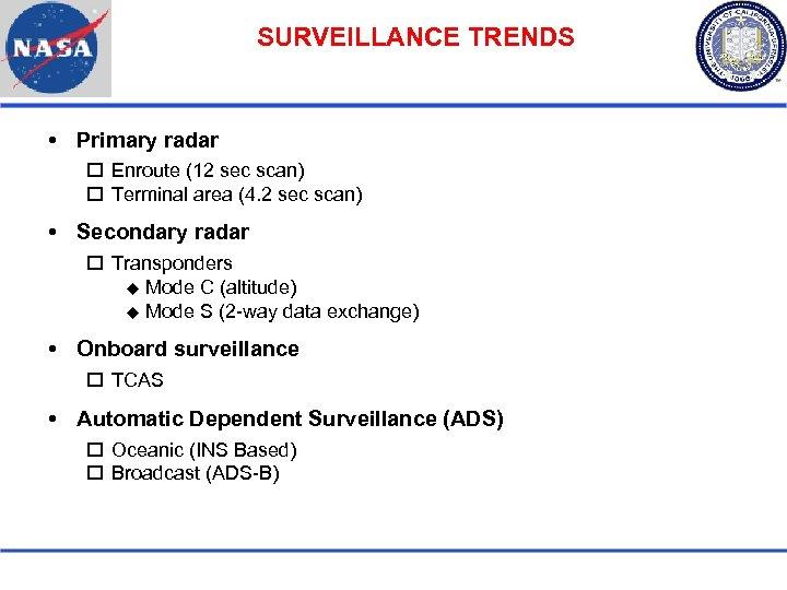 SURVEILLANCE TRENDS Primary radar Enroute (12 sec scan) Terminal area (4. 2 sec scan)