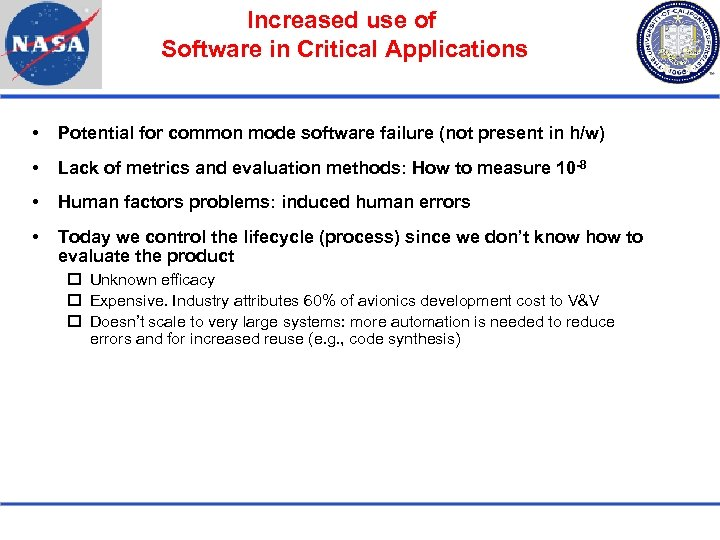 Increased use of Software in Critical Applications Potential for common mode software failure (not
