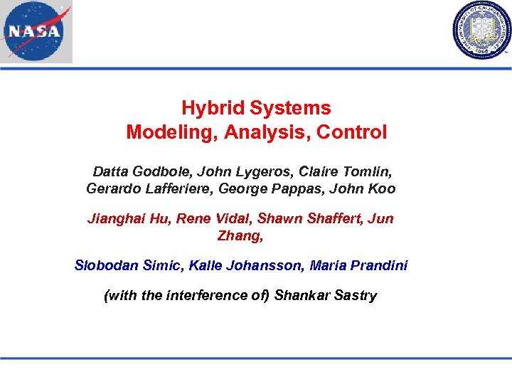 Hybrid Systems Modeling, Analysis, Control Datta Godbole, John Lygeros, Claire Tomlin, Gerardo Lafferiere, George