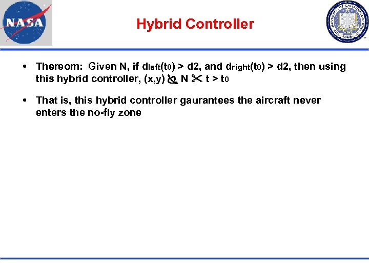 Hybrid Controller Thereom: Given N, if dleft(t 0) > d 2, and dright(t 0)