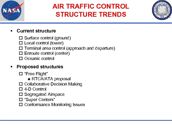 AIR TRAFFIC CONTROL STRUCTURE TRENDS Current structure Surface control (ground) Local control (tower) Terminal