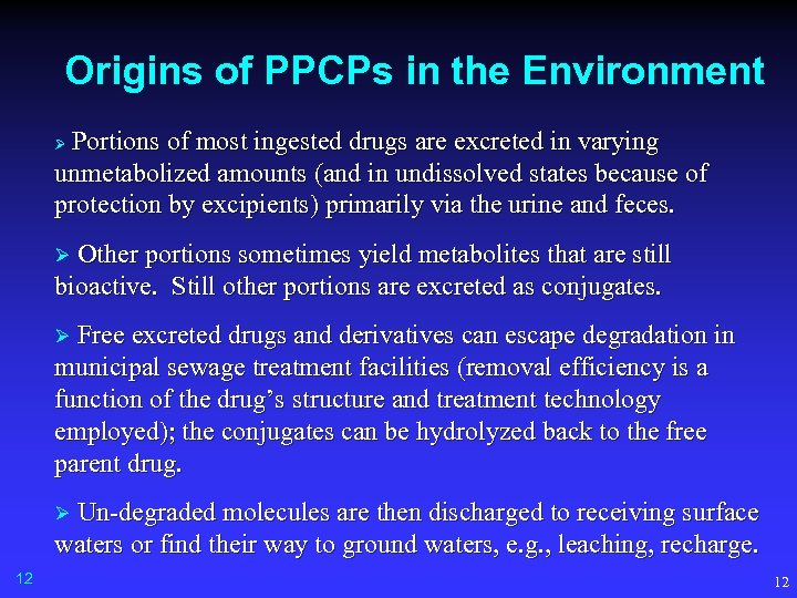 Origins of PPCPs in the Environment Portions of most ingested drugs are excreted in