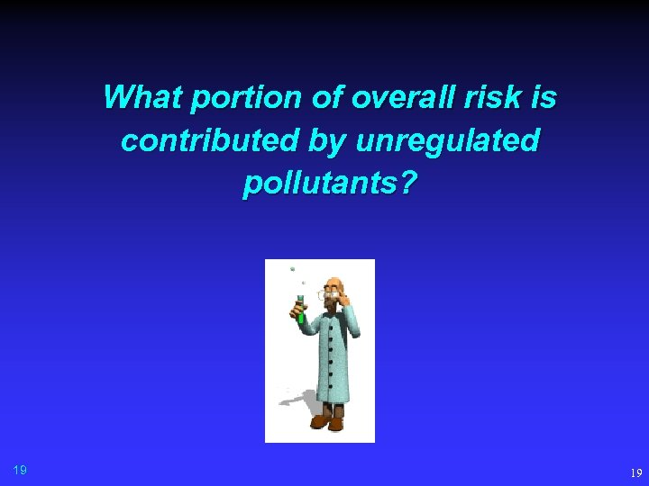 What portion of overall risk is contributed by unregulated pollutants? 19 19