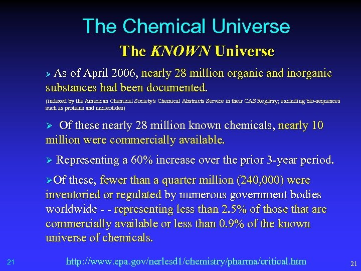 The Chemical Universe The KNOWN Universe As of April 2006, nearly 28 million organic