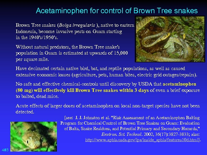 Acetaminophen for control of Brown Tree snakes (Boiga irregularis ), native to eastern Indonesia,