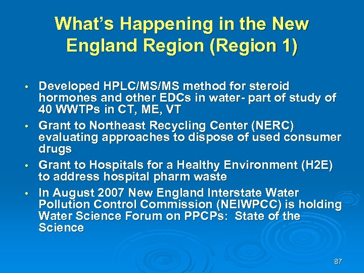 What's Happening in the New England Region (Region 1) Developed HPLC/MS/MS method for steroid
