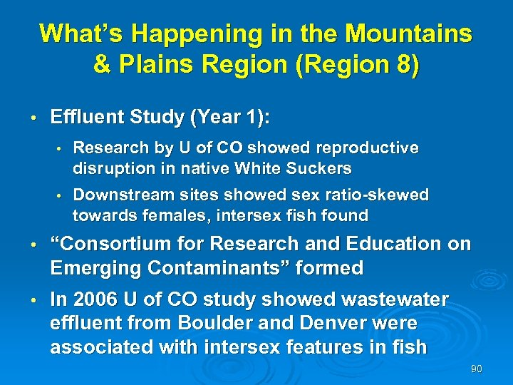 What's Happening in the Mountains & Plains Region (Region 8) • Effluent Study (Year