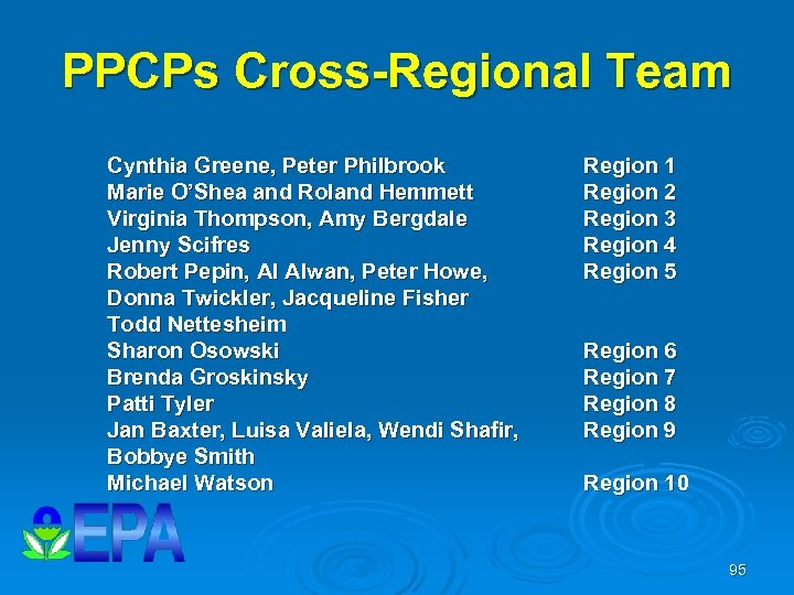 PPCPs Cross-Regional Team Cynthia Greene, Peter Philbrook Marie O'Shea and Roland Hemmett Virginia Thompson,