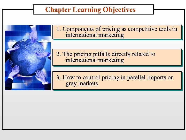 Chapter Learning Objectives 1. Components of pricing as competitive tools in international marketing 2.