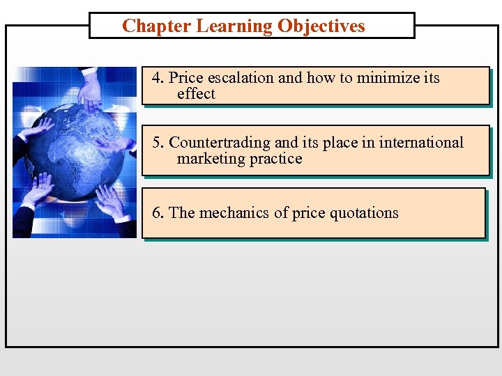 Chapter Learning Objectives 4. Price escalation and how to minimize its effect 5. Countertrading
