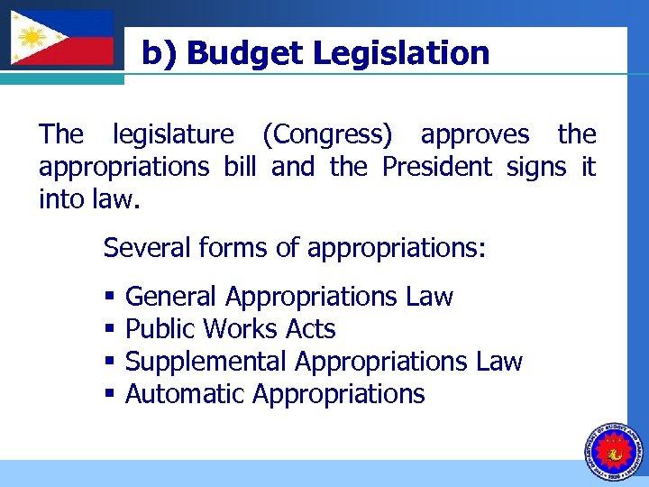 Company b) Budget Legislation LOGO The legislature (Congress) approves the appropriations bill and the