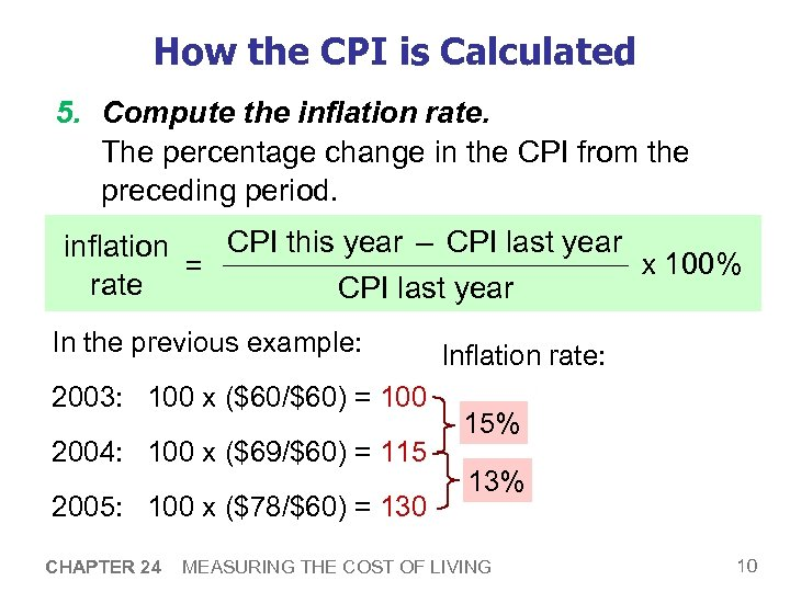 How the CPI is Calculated 5. Compute the inflation rate. The percentage change in