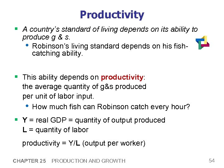 Productivity § A country's standard of living depends on its ability to produce g