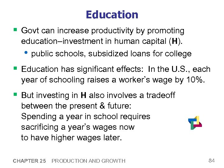 Education § Govt can increase productivity by promoting education–investment in human capital (H). •