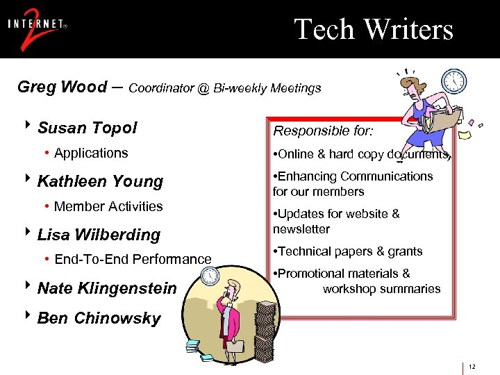 Tech Writers Greg Wood – Coordinator @ Bi-weekly Meetings 8 Susan Topol • Applications