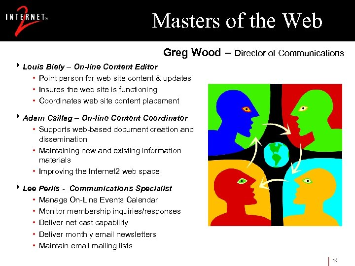 Masters of the Web Greg Wood – Director of Communications 8 Louis Biely –