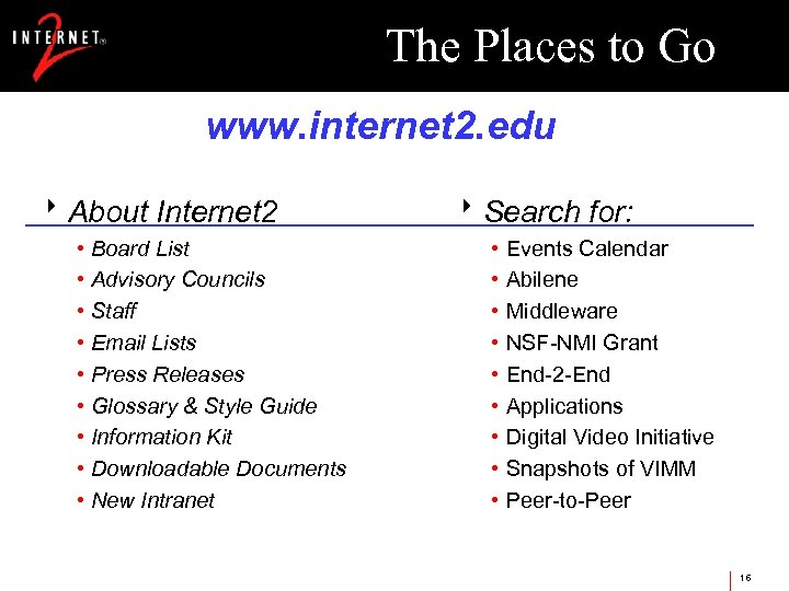The Places to Go www. internet 2. edu 8 About Internet 2 • Board